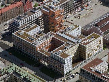 Bürogebäude Alte Messe München MK5, Ausführungsart: Bitumen/Wirobit Umkehrdach-Dachbegrünung